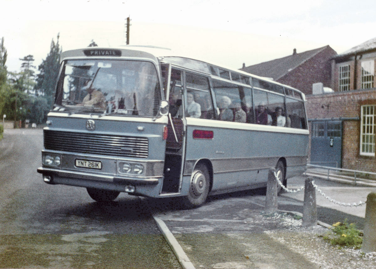 Fred Owen at the wheel of a Bedford Duple purchased second-hand from Don Everall's in Wolverhampton in the mid 70's. it is believed to be an excursion from the local sewing factory or the 'Knicker Factory' as it was better known!