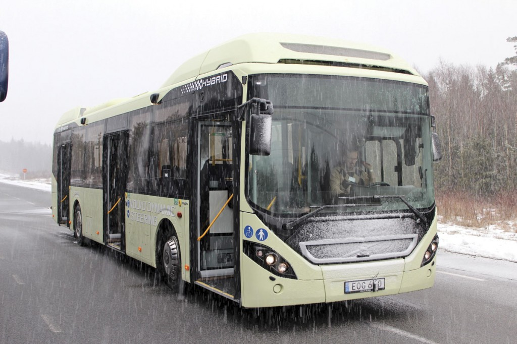 A Euro6 hybrid Volvo 7900 after a test run. VDA will be made standard on this model later this year
