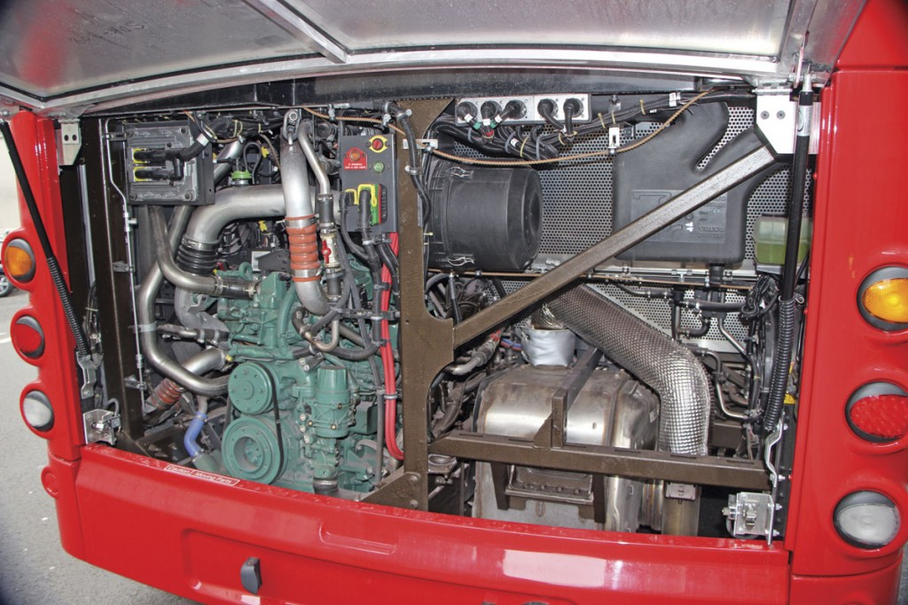 A considerable amount of air circulation space is provided within the engine bay. The diesel unit is a five-litre Volvo D5K