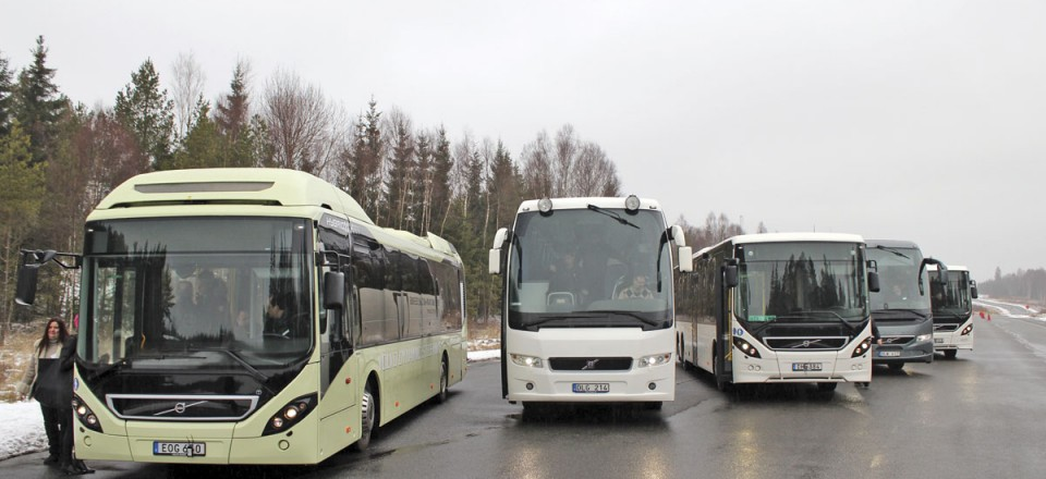 A variety of buses and coaches fitted with the equipment were made available to test on the track at Hällered.
