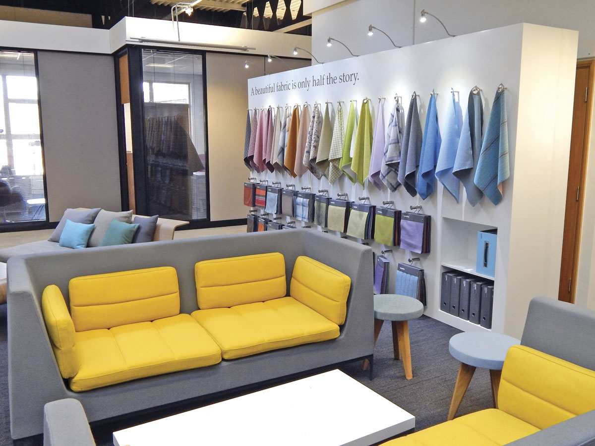 Fabric samples in an open plan area of the HQ building