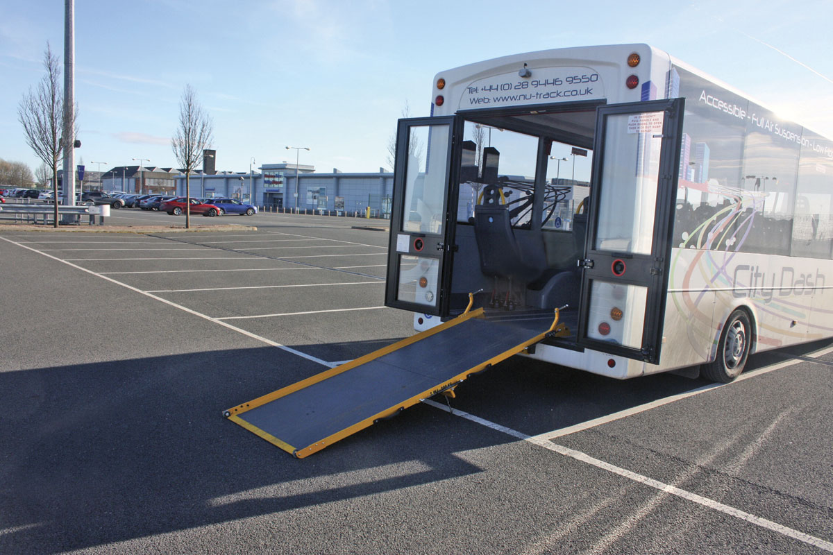 For rear loading of wheelchairs the doors open back to the body and the Portaramp gives a shallow angle with the air suspension lowered