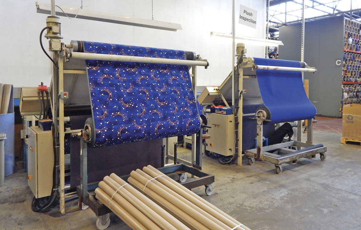 Moquette woven in Lithuania undergoing final inspection