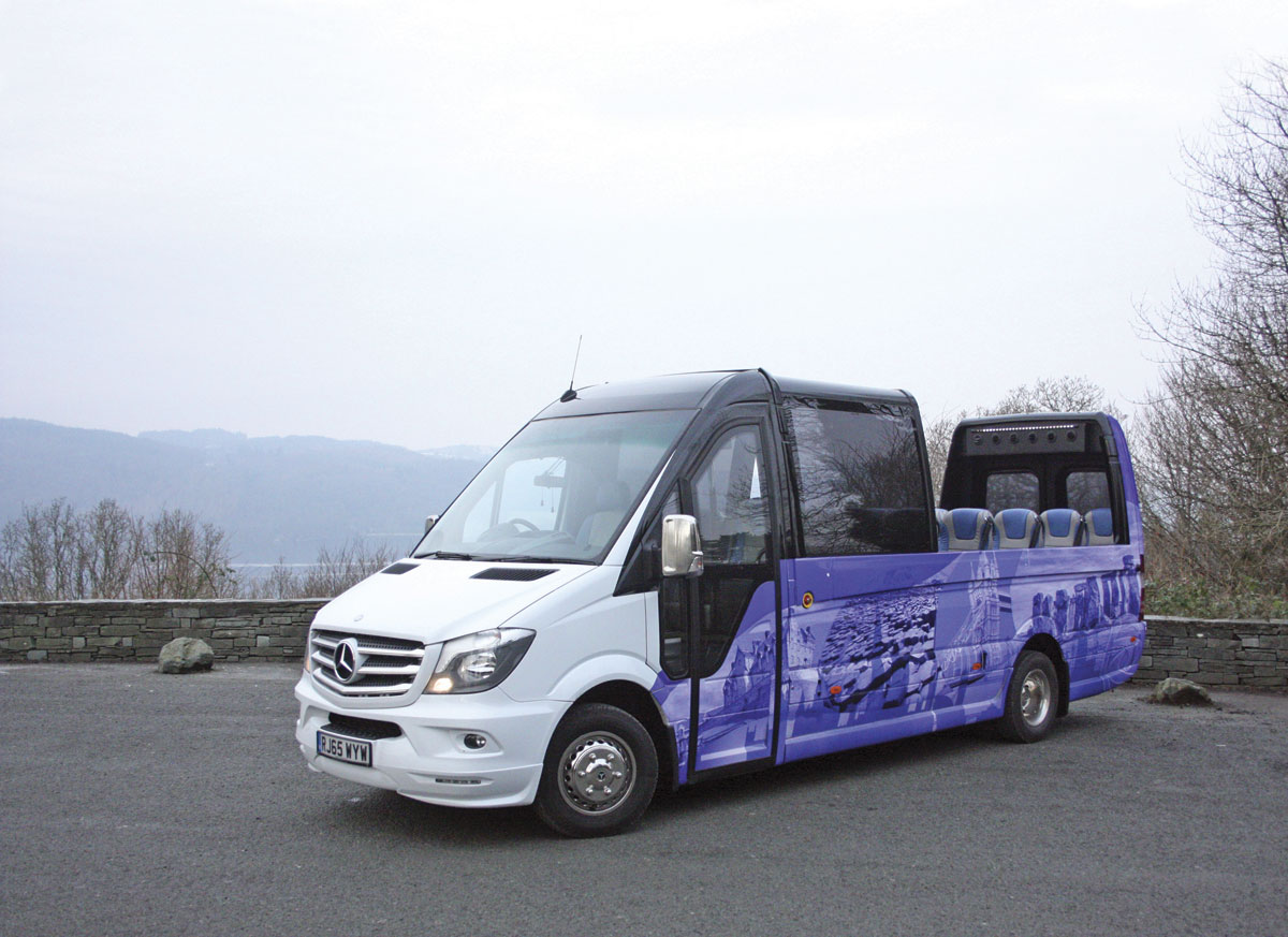 The EVM Cabrio open topped Sprinter with the roof opened.