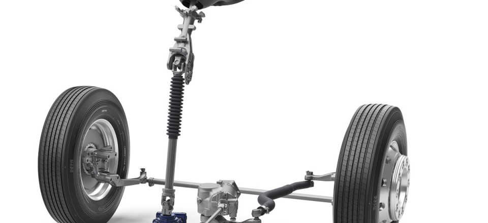 The VDS steering system layout on a B11R chassis with RFS rigid beam front suspension