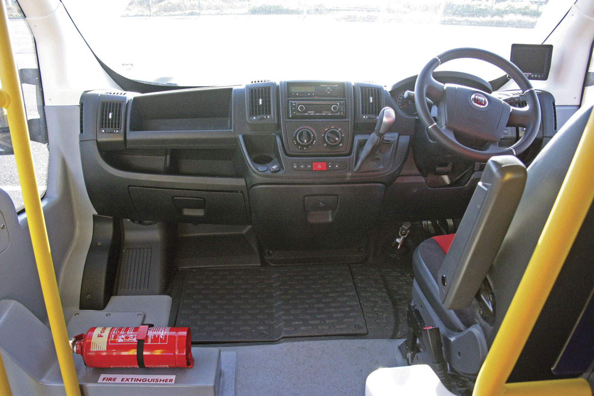 The dash is essentially standard Fiat Ducato