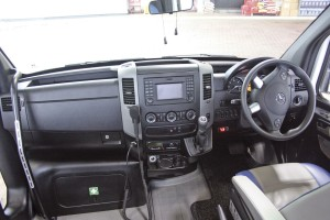 The dash on the vehicle is largely the standard Sprinter unit with multi function steering wheel.