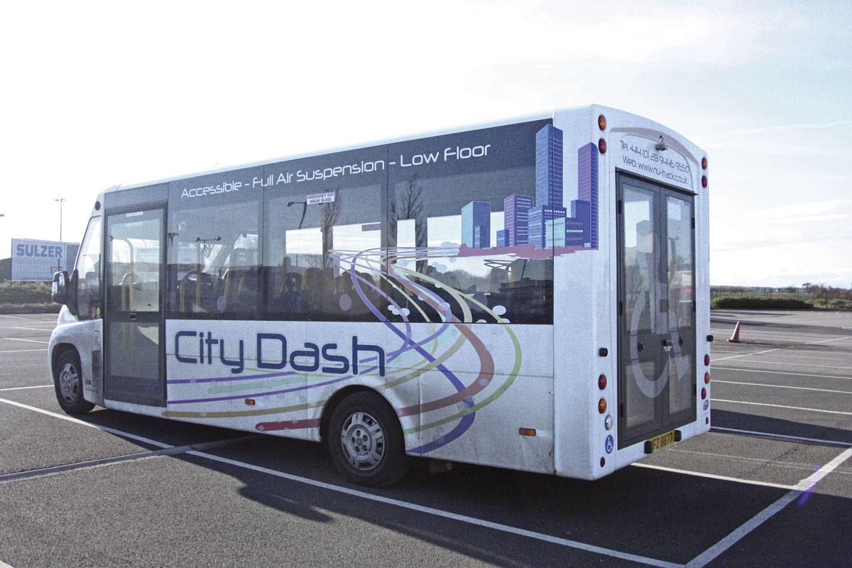 The demonstrator is fitted with the wide rear doors and ramp. A service bus version omitting the doors and ramp is available