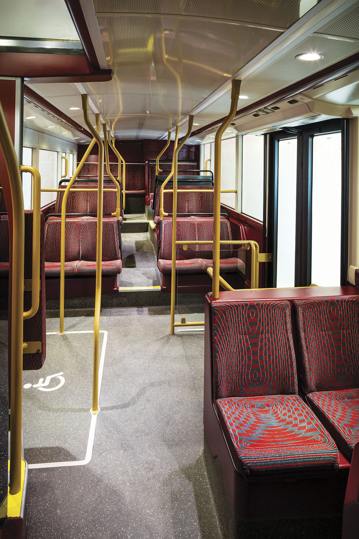 The lower deck showing the two, rather than three, door layout