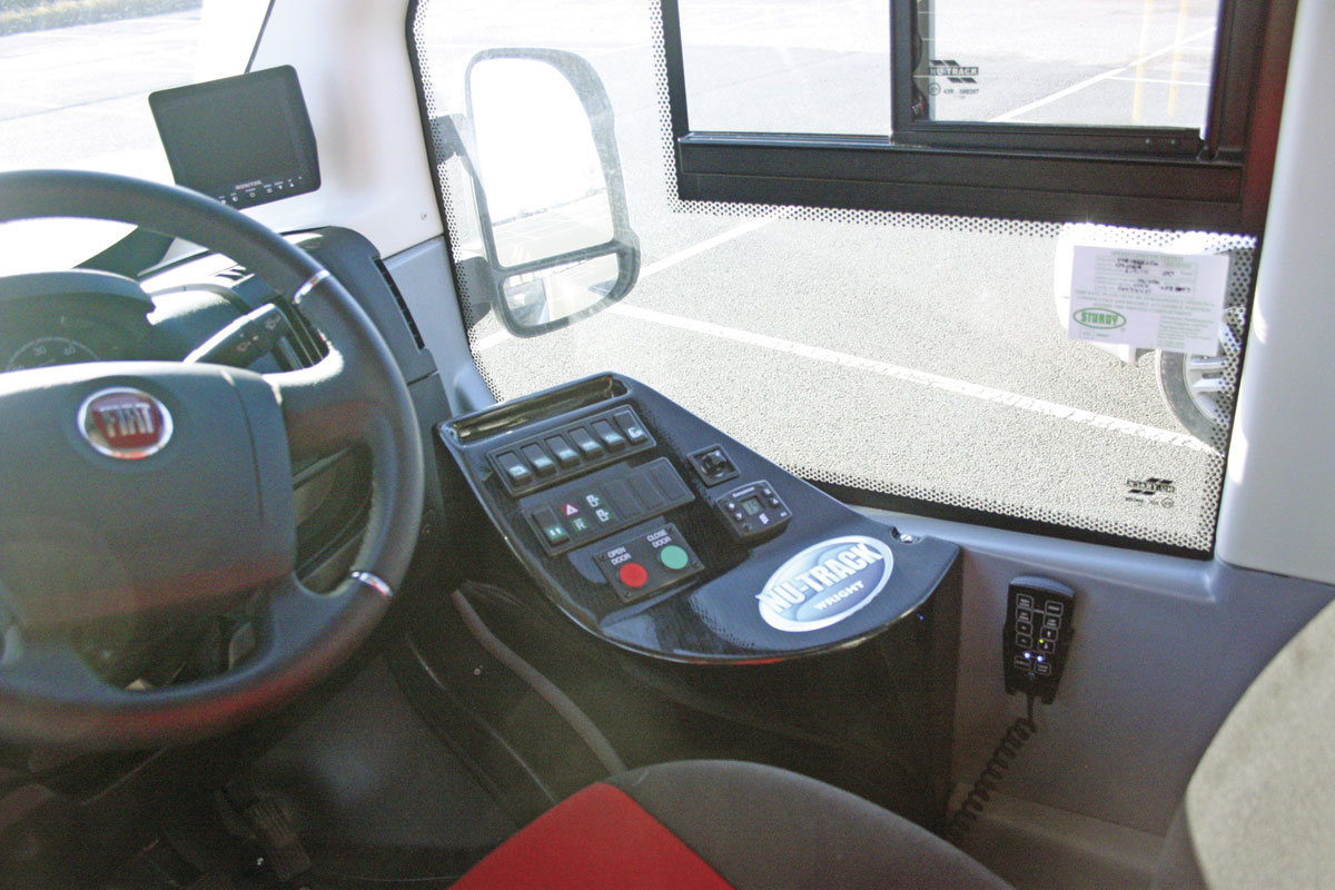The neat unit to the driver's right for the body system controls. The air suspension control mounted on the side wall is being re-positioned into the switch panel