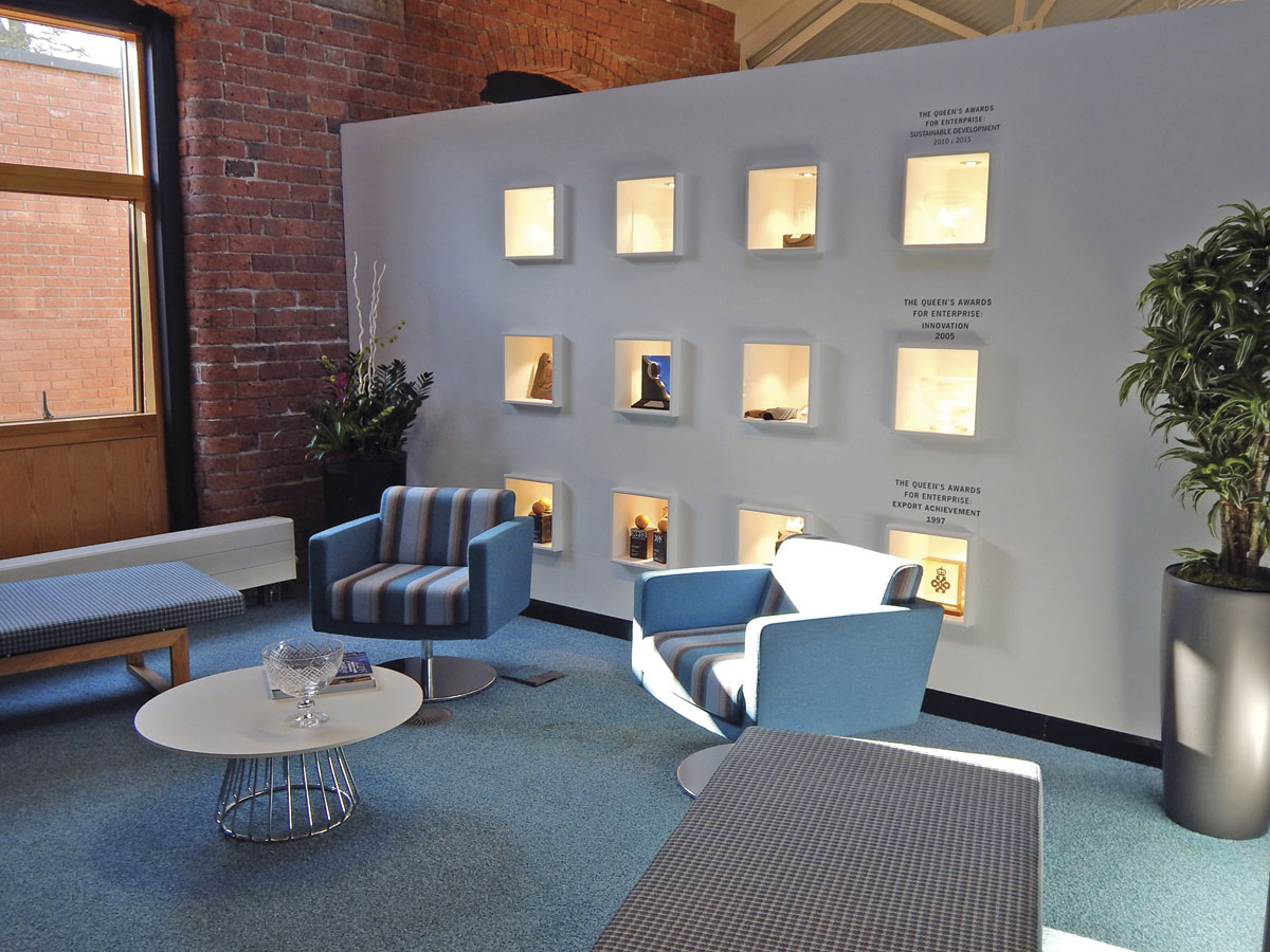 The reception area at Camira Fabrics HQ
