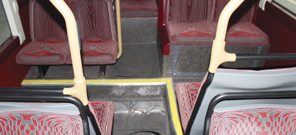 The step layout at the rear of the lower deck