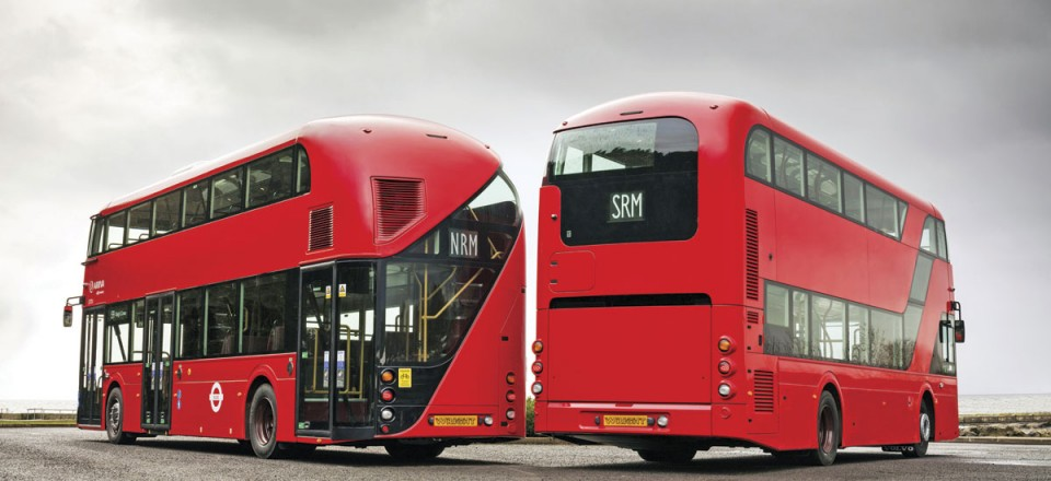 The very different rear treatment of the New Routemaster and the SRM