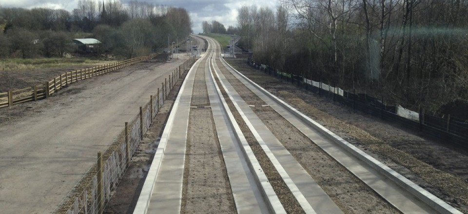 A slip forming technique was used on the track, the first time on a busway