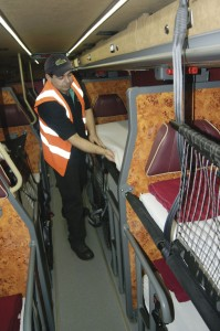 Beds are made in preparation for the megabus Gold sleeper service that runs out of the West Ham Bus Garage