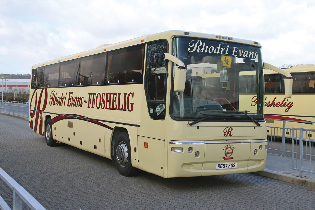 Bought new in 2007 was this 57-seat Dennis Javelin Plaxton Profile. In common with a number of vehicles acquired between 2007 and 2011 it has prominent Rhodri Evans branding in addition to the Ffoshelig name