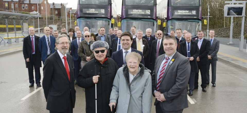 Cllr Andrew Fender, Andy Burnham MP and Cllr Mark Aldred with special guests and residents Frank and Pat Parkinson