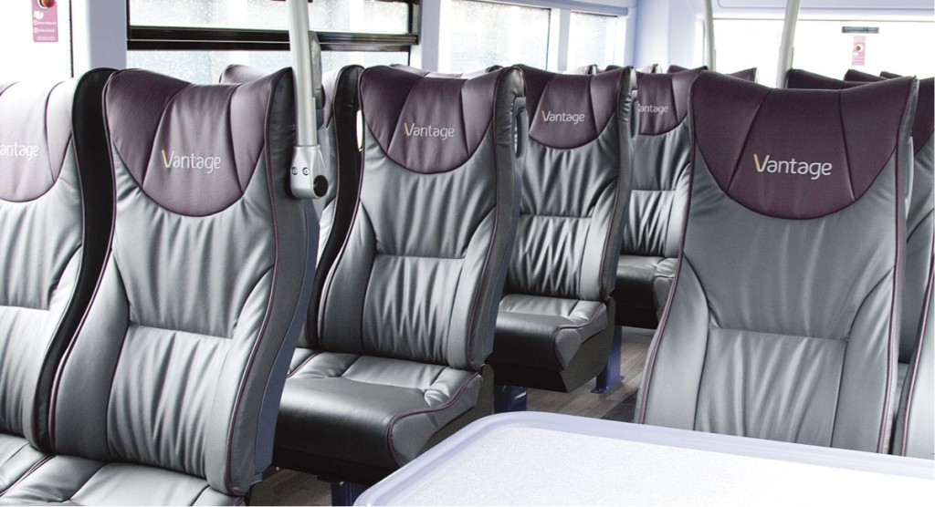 E-leather in bespoke colours is used to upholster the seats