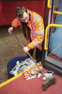 Mops, brushes and buckets are all used by the cleaning team, which Guy finds is the best solution to cleaning bus and coach fleets
