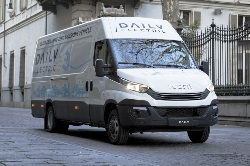 Shown here as a van, electric minibus versions of the latest Daily are available.