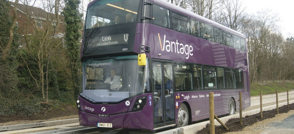 One of the Vantage buses running across the guided busway