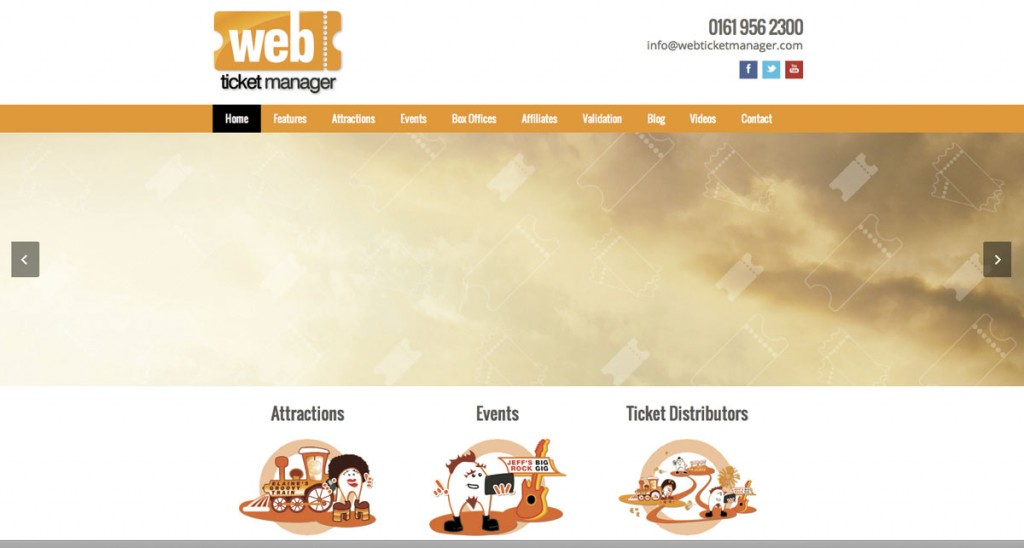 Part of WebTicketManager's home page