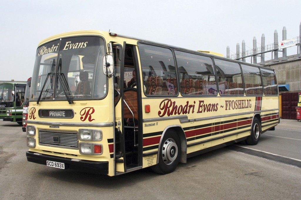 Rhodri attended the Plaxton Centenary celebrations in 2007 in this Supreme V bodied Leyland Leopard which is now preserved. Many people wrongly assumed from the registration that it was ex Southdown. It had been new to Bicknells, joining Lewis, Whitland in 1985 and when sold by Rhodri had covered only 250,000km in 31 years.