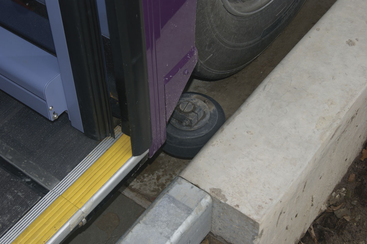 The buses are fitted with guide-arms that help the vehicle steer through the busway's segregated channels