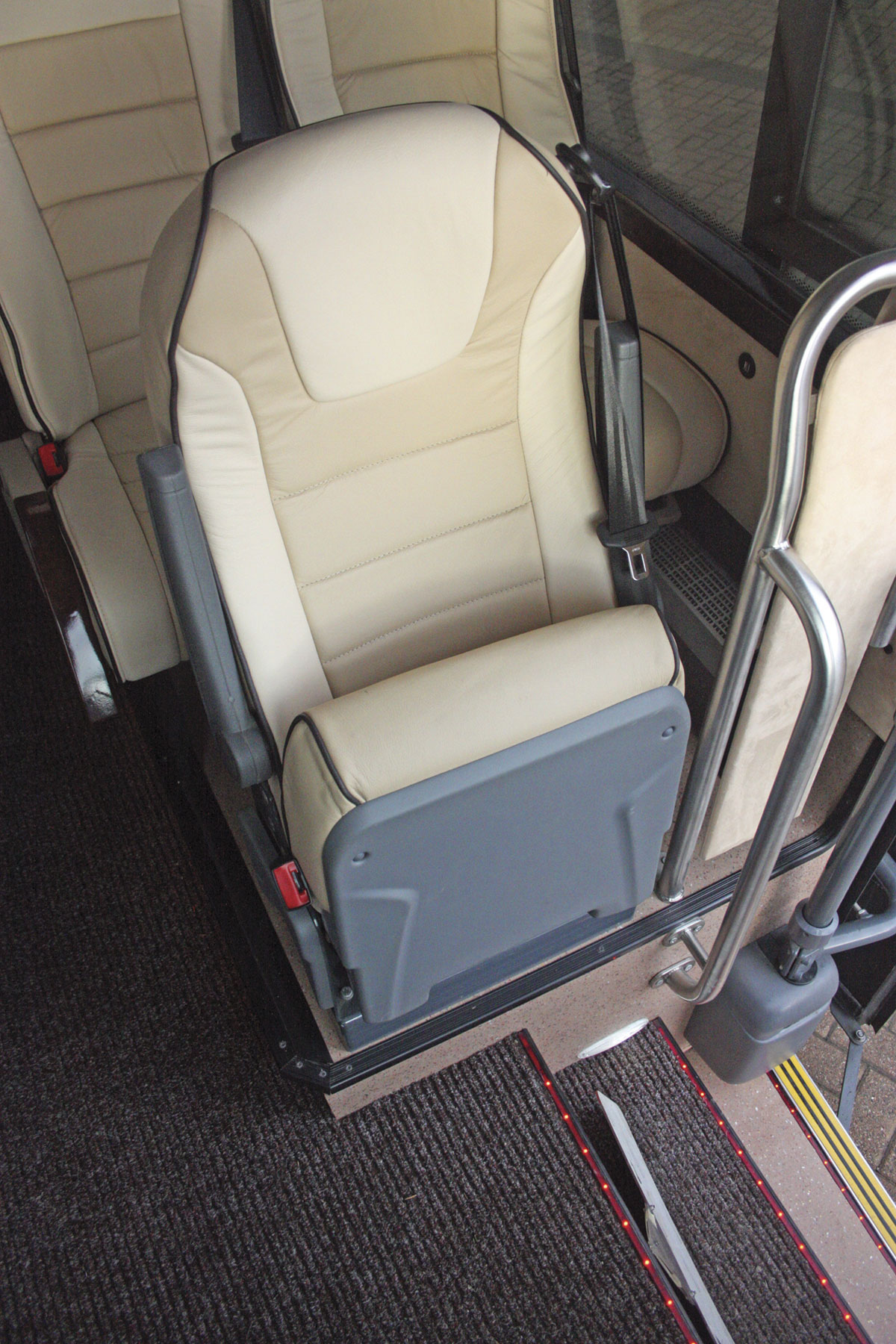 The courier seat is trimmed to match the saloon seats
