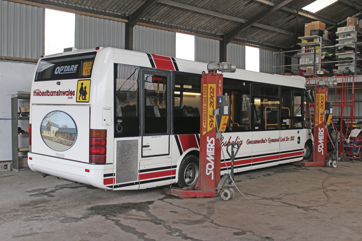 The larger of the Optare Solos in the workshops