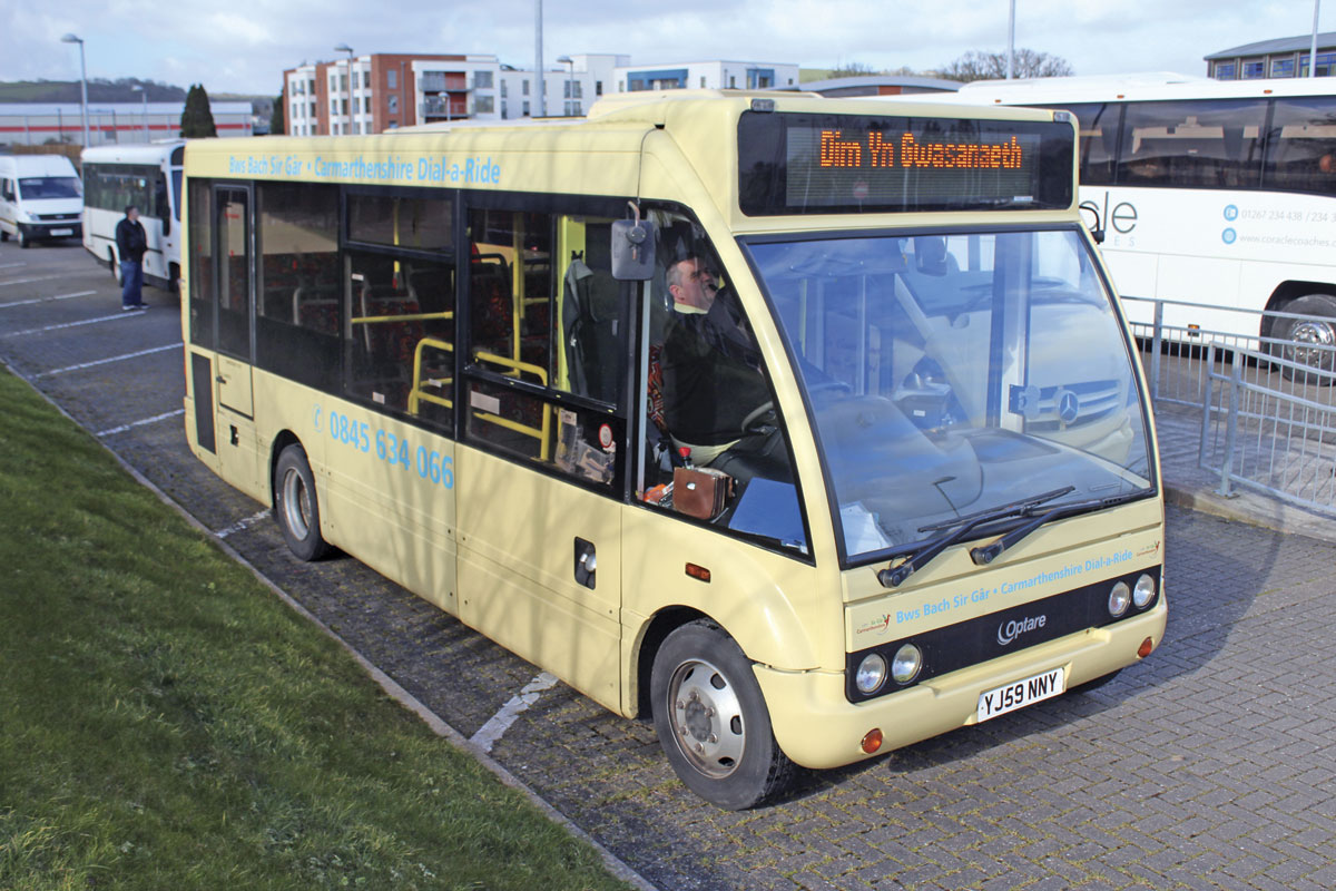 The smallest bus operated is an Optare Solo M710SE. The 23 seater was purchased new in 2010 for a contracted dial-a-ride service
