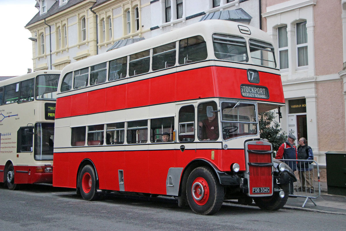 Leyland PD2 with East Lancs body seen loading in the town.