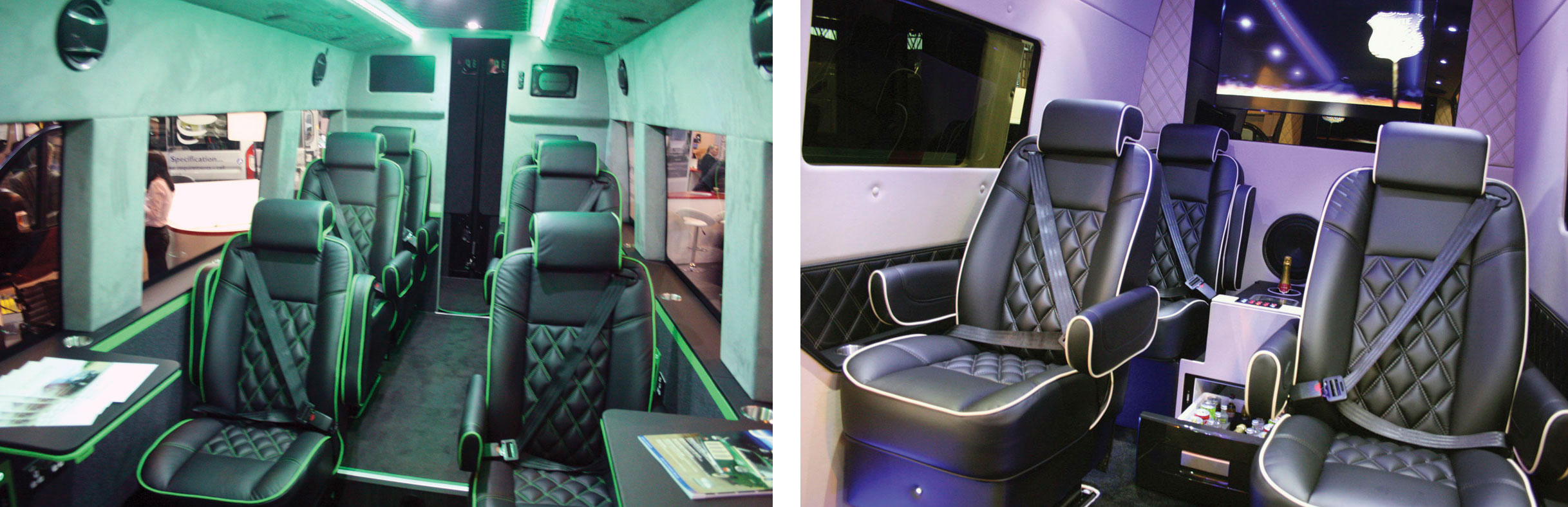 Sumptuous interiors of two Stanford Monacos. Left on a VW Crafter and right on a Mercedes-Benz Sprinter.