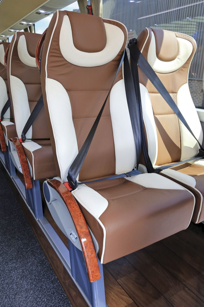 Temsa redesigned their standard seat to meet BM Coaches' requirement. It is fully leather trimmed and offers side slide capability