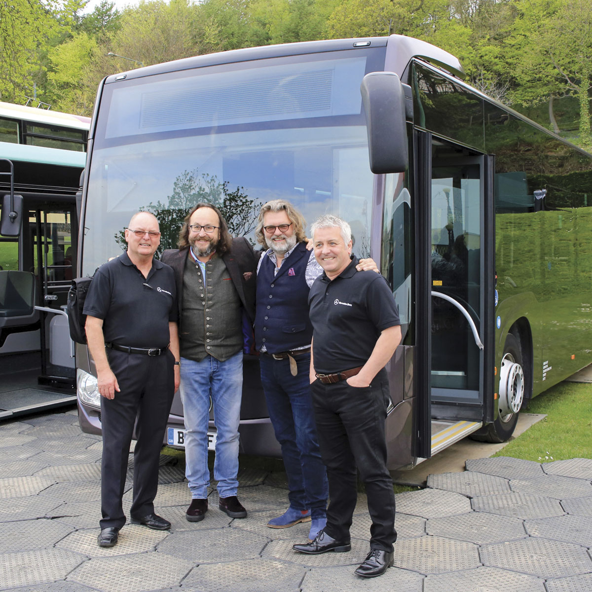 The Hairy Bikers with the EvoBus team in front of the Mercedes-Benz Citaro demonstrator