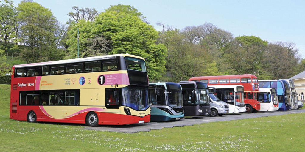 The vehicle display in the grounds of Villa Marina with the low height Wrightbus Streetdeck for Brighton and Hove prominent