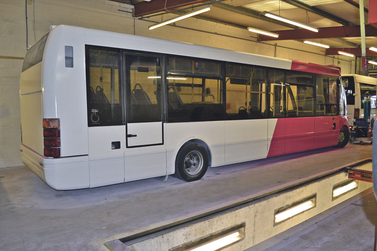 This Optare Solo has just been repainted in the workshop on site. It still needs to have the trademark heart transfers applied
