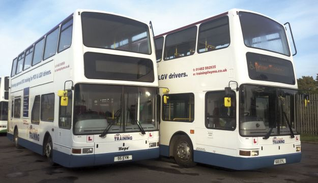 Two of EYMS' new training buses.