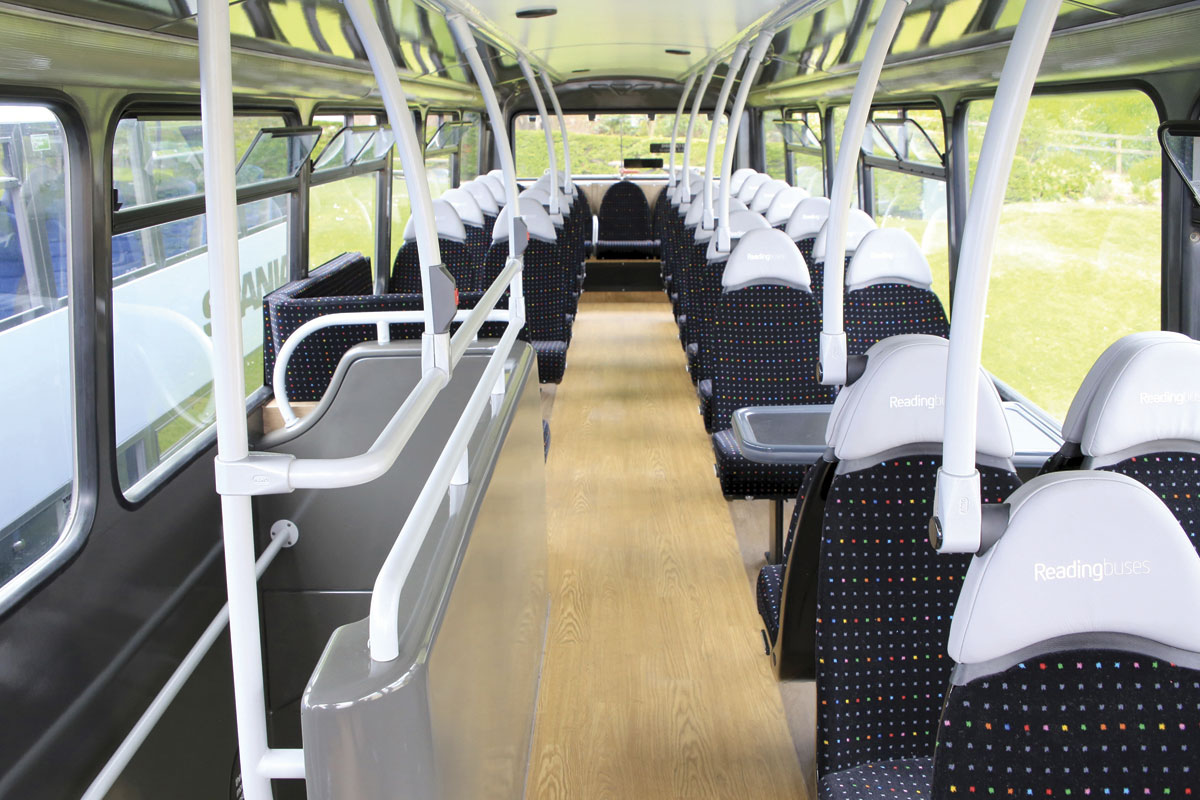 Upper deck interior of the Wright Gemini double decker refurbished by Bus and Coach World for Reading Buses