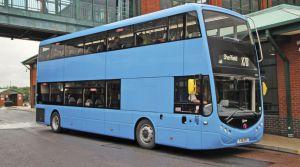 First Bus trial Metrodecker at Rotherham