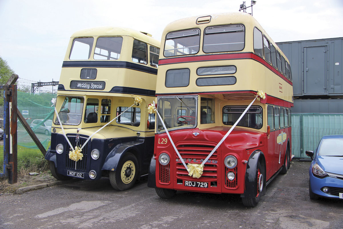 Kenny sometimes drives these two deckers at weddings. He adapted a fluid flywheel from a Routemaster to fit the pre-select Guy Arab on the left when the original failed