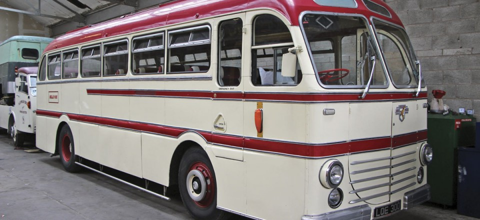 Part of the Belle Vue fleet is this rare Leyland Royal Tiger Duple Roadmaster coach restored by the Walshes and the team at Belle Vue