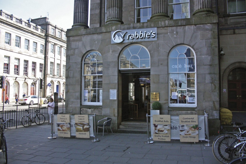 The Rabbie's centre and café:bar at the end of Princes Street in Edinburgh