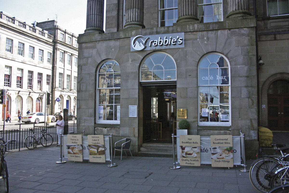 The Rabbie's centre and café/bar at the end of Princes Street in Edinburgh