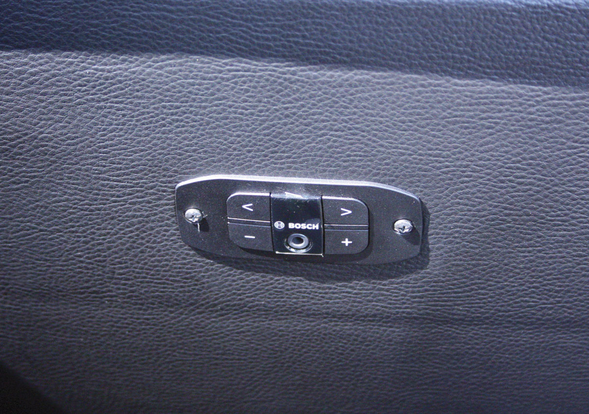 The headphone sockets set in the seat backs