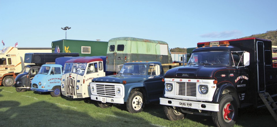The line up of preserved vehicles at this year's Llandudno event