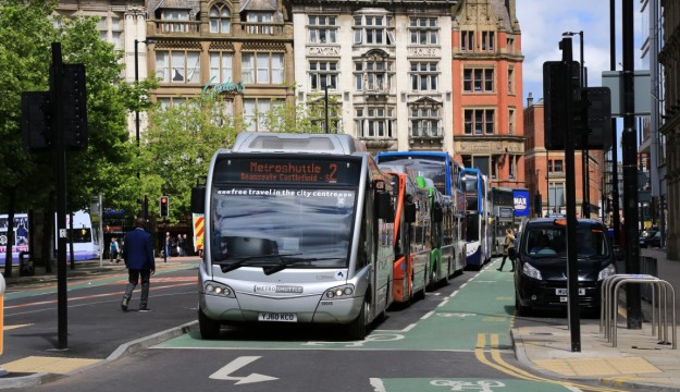 A queue of seven buses followed the procession with more bunched up in adjoining streets.