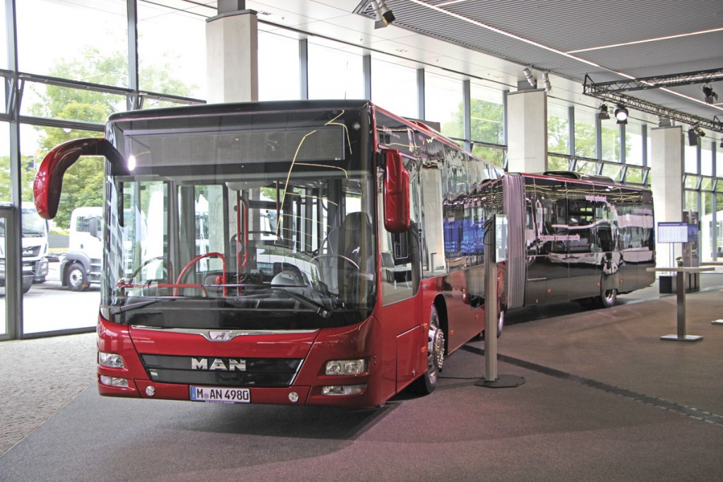 MAN's articulated Lion's City G. It is now available with the Voith DIWA6 gearbox and new door options will be shown at the IAA