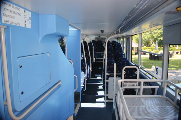 The lower deck of the Enterprise showing the blue mouldings specified by Ensignbus and the rising floor and ceiling lines.