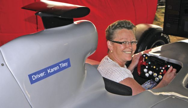 CPT's Karen Tiley in the cockpit of the Formula One simulator which carried her name.
